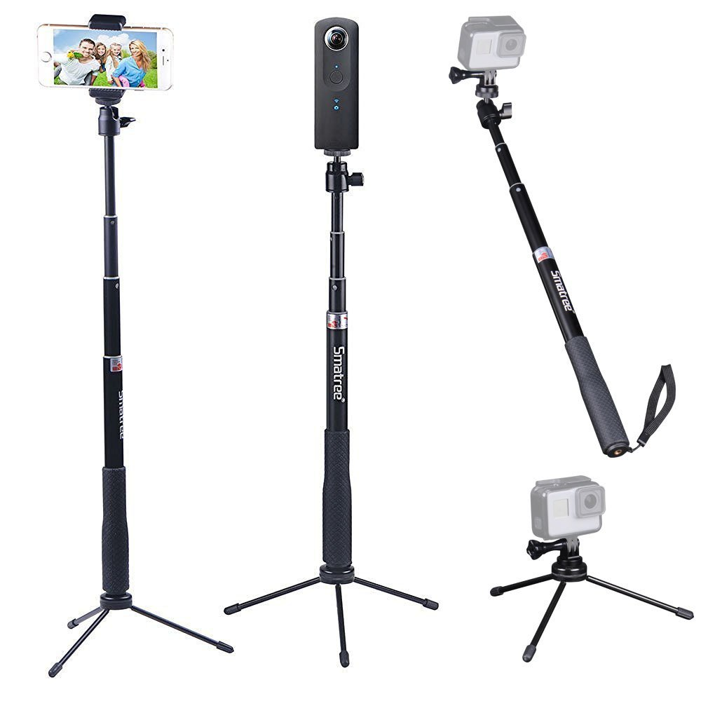 smatree smapole q3 selfie stick with tripod stand for gopro hero 5 4 3 3 2 1 session cameras. Black Bedroom Furniture Sets. Home Design Ideas